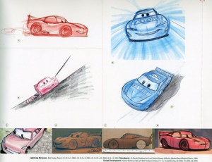 Pixar sketches from Cars -- Lightning McQueen